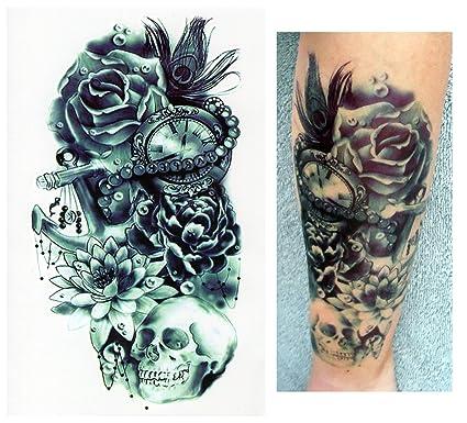 Tatuajes temporales Tempo rary Tattoo Fake Tattoo – Flores Reloj Calavera de
