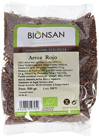 Bionsan Arroz Rojo Ecológico | 6 Paquetes de 500 g | Total: 3 kg