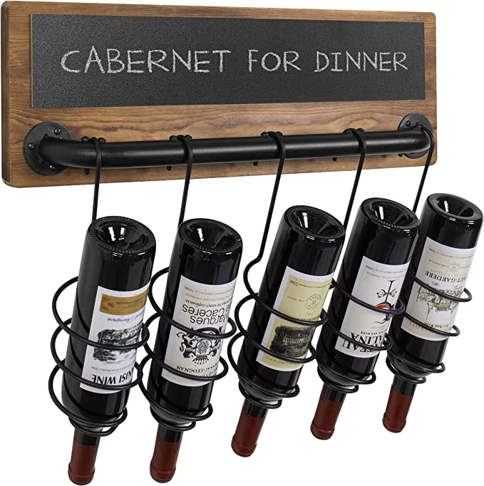 Amazon Com Mygift 5 Bottle Industrial Wood Pipe Design Wall Mounted Wine Bottle Rack With Chalkboard Label Home Kitchen