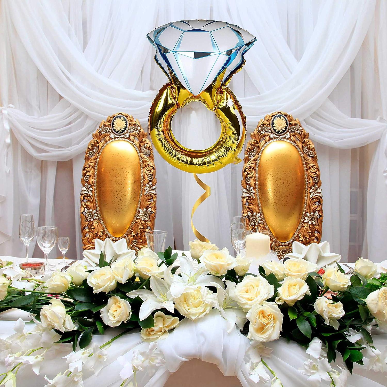 TRIXES Gran Globo Inflable Forma Anillo de Compromiso Dorado y Azul Divertido para Celebración Boda Fiesta de Amor de San Valentín
