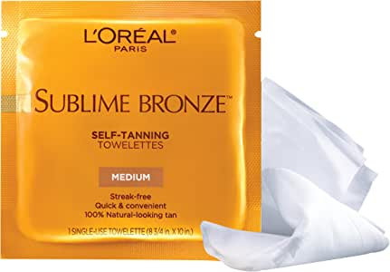 (Pack of 1) - L'Oreal Paris Sublime Bronze Self-Tanning Towelettes- Medium Natural Tan