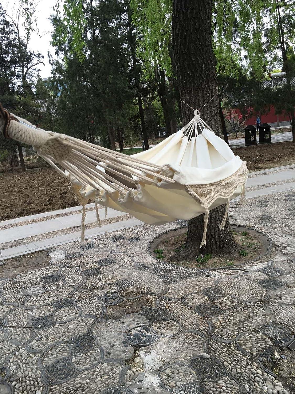 Hbzll NEU 100% Baumwolle Haarverdichtung Canvas Outdoor 2 Personen tragbar Quaste Hängematte Weiß Fransen hammoc