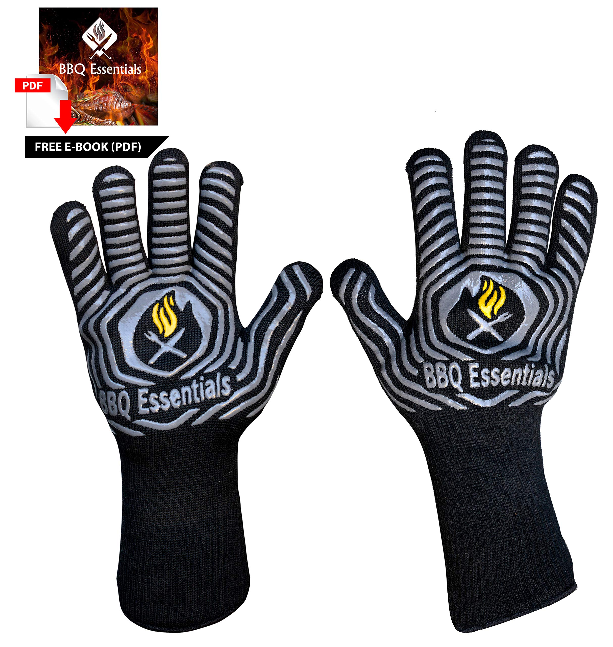 BBQ Essentials Heat Resistant BBQ Gloves | 1472°F Extreme Heat Proof Oven Mitts | One Size Fits All Silicone Based Fire Safety Gloves for Cooking, Grilling, Baking, Camping, Pot Handling, Free E-Book