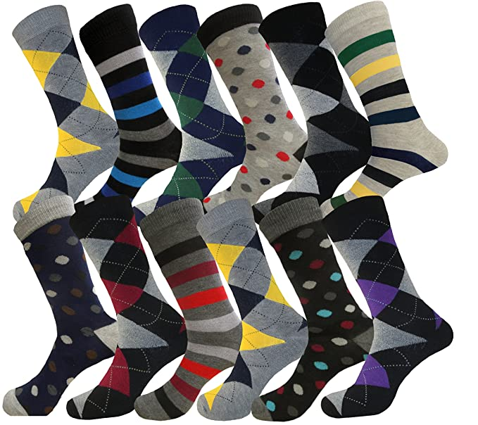 POLKA DOTS & STRIPES MENS DRESS SOCKS COTTON BLEND 12 PAIRS 10-13 FORMAL SOCKS
