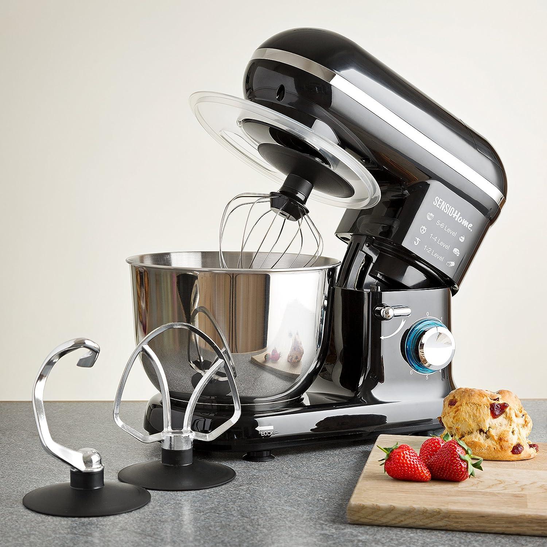 Sensio Home Robot De Cocina 2 en 1 Mezcladora Procesadora Batidora Multifunción | Motor Eléctrico de 1000 W - 6 Velocidades | Amasadora, Batidor y Gancho | Tazón de Acero Inoxidable de 4.5L: Amazon.es: Hogar