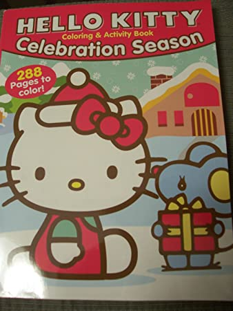 hello kitty 288 page coloring activity book christmas edition celebration season kitty