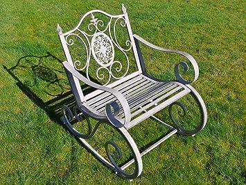 Sensational Antique Grey Victorian Wrought Iron Metal Garden Patio Rocking Chair Seat 90Cm Beatyapartments Chair Design Images Beatyapartmentscom