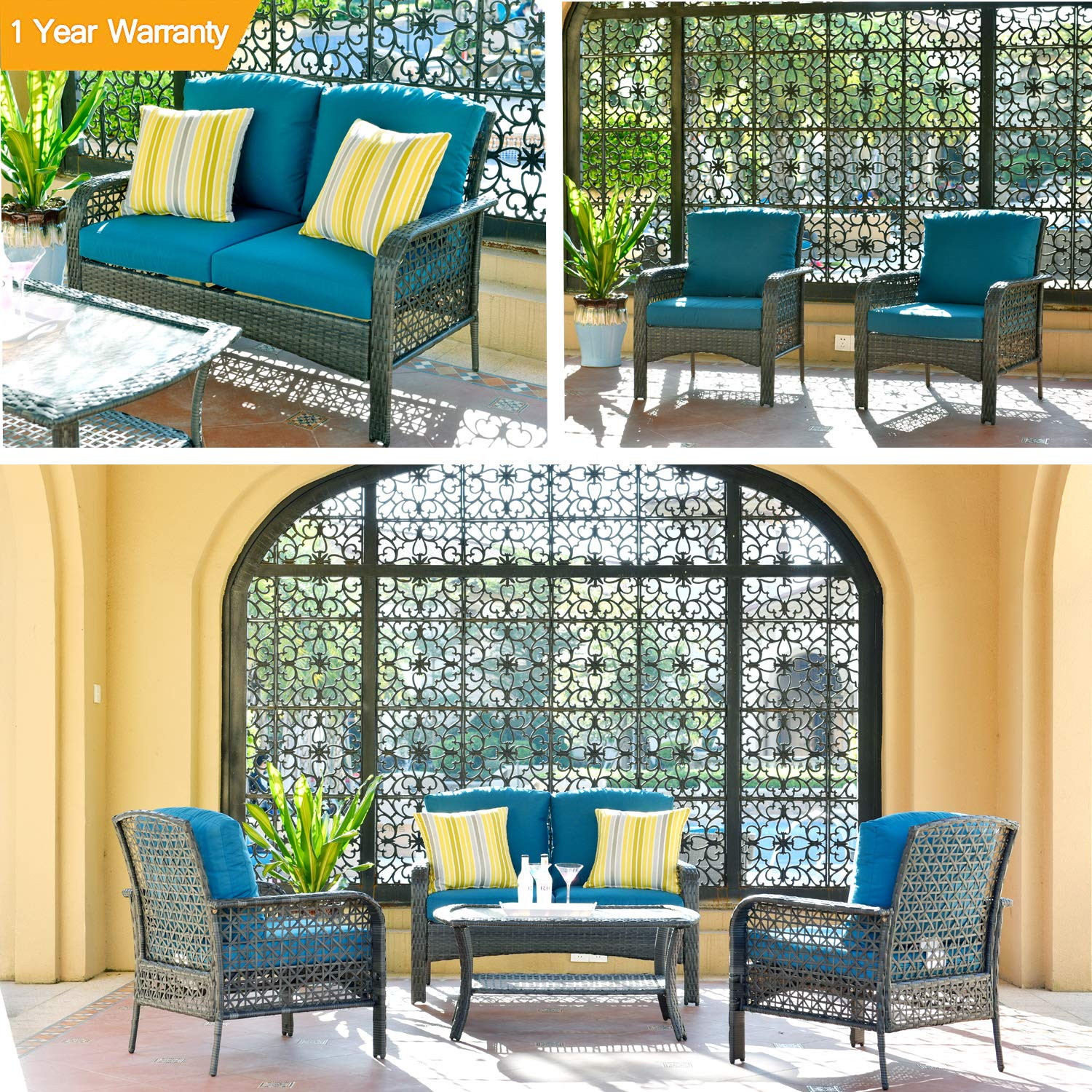 ovios 4 PCs Patio Furniture Sets All Weather Water-Resistant and UV Resistant Rattan Wicker Deep Seating Outdoor Sofa Conversation Set with Cushions,Table Gray Wicker Navy Blue Cushion
