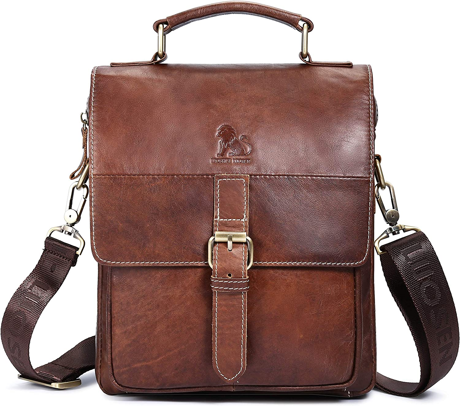 BAIGIO Genuine Leather Shoulder Bag for Men Spacious Messenger Bag Cross Body Casual Daypack Small Briefcase for Hiking Travel Everyday Use Brown