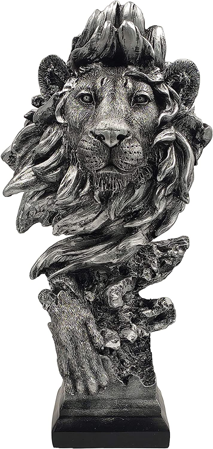 LOOYAR Resin Lion Statue Sculpture Ornament Collectible Figurine Craft Furnishing for Home Décor Farm House Living Room Porch Decoration Office Desk Desktop Table Wine Cabinet Arrangement Gift, Silver