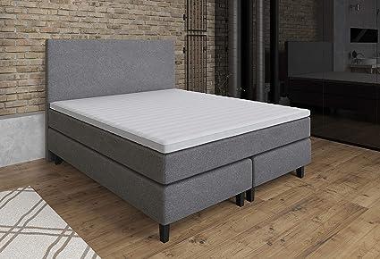Cama tapizada con somier de muelles Etna, 160 x 200 cm, colchón H3 con núcleo de muelles ensacados, protector superior de espuma, color beige y gris, ...