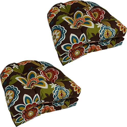 Blazing Needles U-Shaped Patterned Spun Polyester Tufted Dining Chair Cushions Set