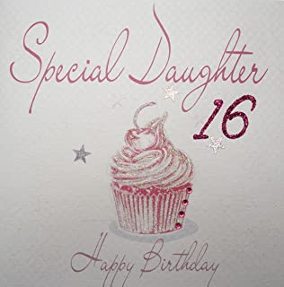 WHITE COTTON CARDS Special Daughter 16 Happy Handmade 16th Birthday Card Pink Cupcake
