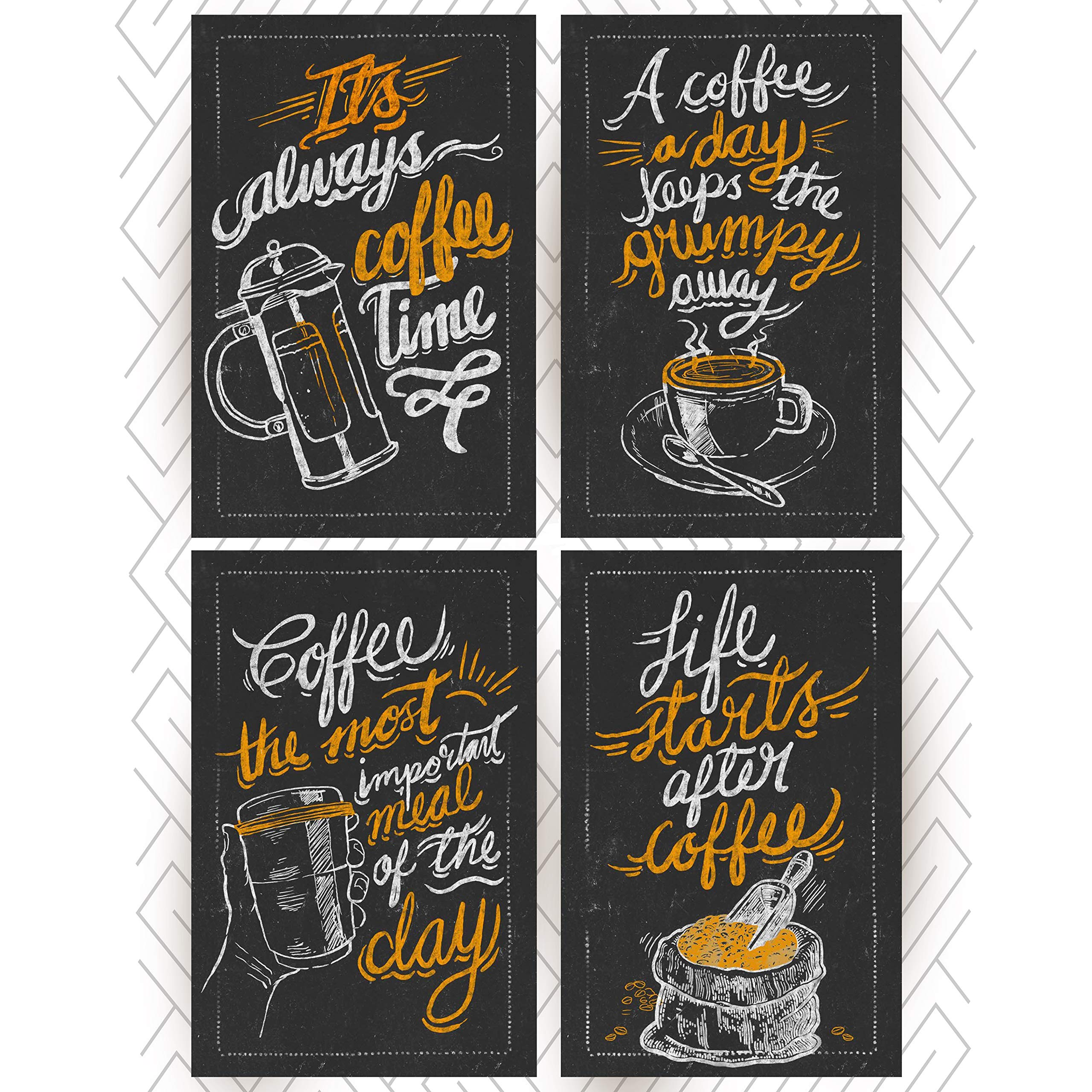 Throwback Traits Great Coffee Shop Decor Posters. Black and White Prints for Wall Art Decor. Nice Signs as Birthday Gifts or as Vintage Decoration
