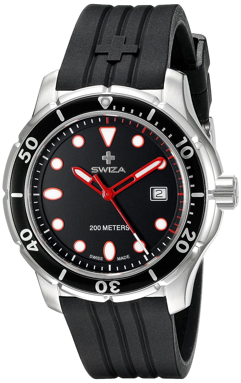 SWIZA Tetis Saphirglas Silikon-Armband Luxus Uhr - Schwarz - One Size