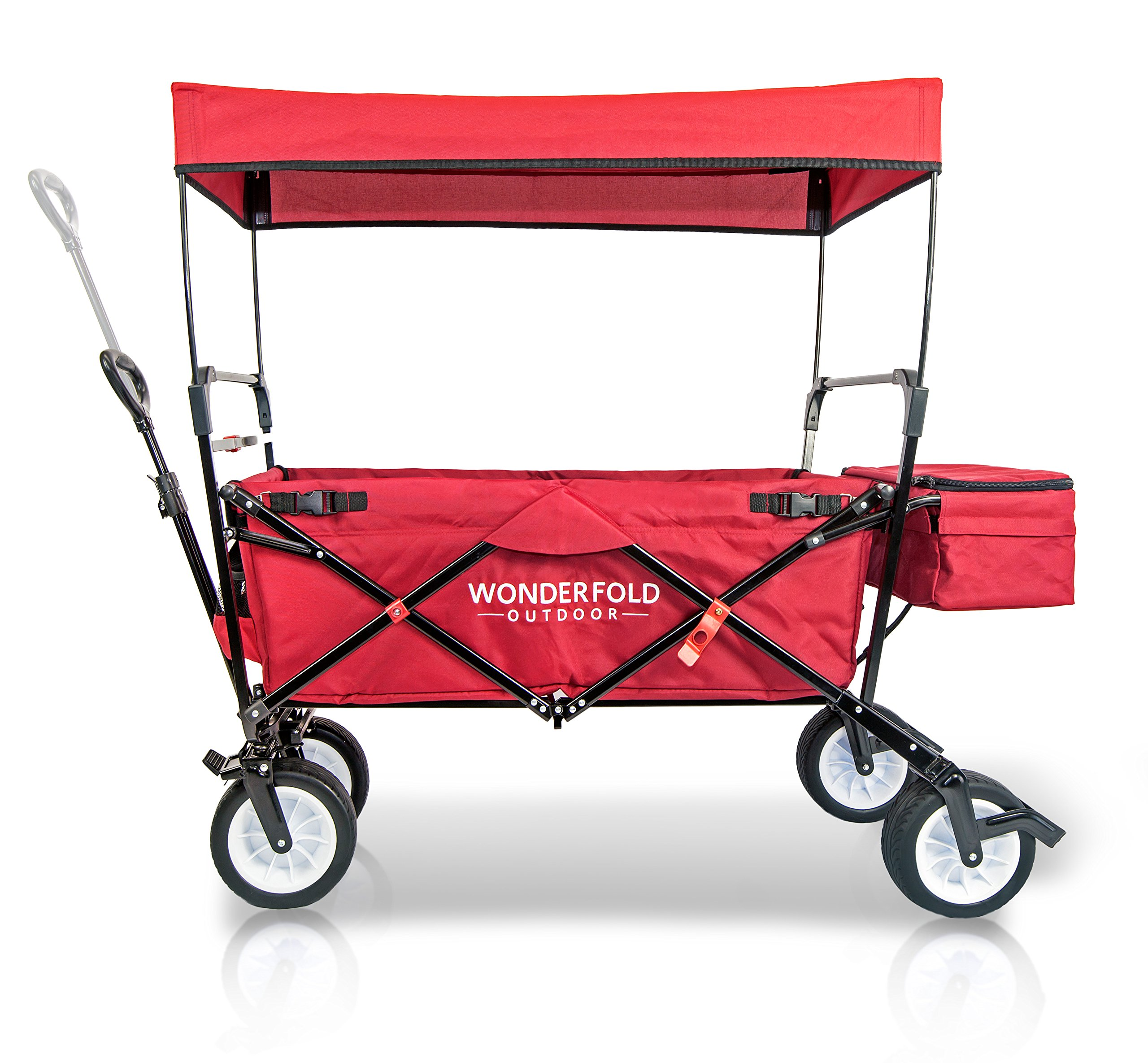 WonderFold Outdoor NEW GENERATION Collapsible Folding Wagon with Canopy - Premium Features: Auto Safety Locks, Spring Bounce, One Pedal Brake, Stand, EVA Wide Tire (Ruby Red) by Everyday Sports