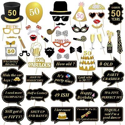 50ème anniversaire Accessoires Photo Booth props, Konsait 50 ans noir et faux or joyeux anniversaire décorations Photo Booth Masquerade avec bâton pour 50ème célébration d'anniversaire