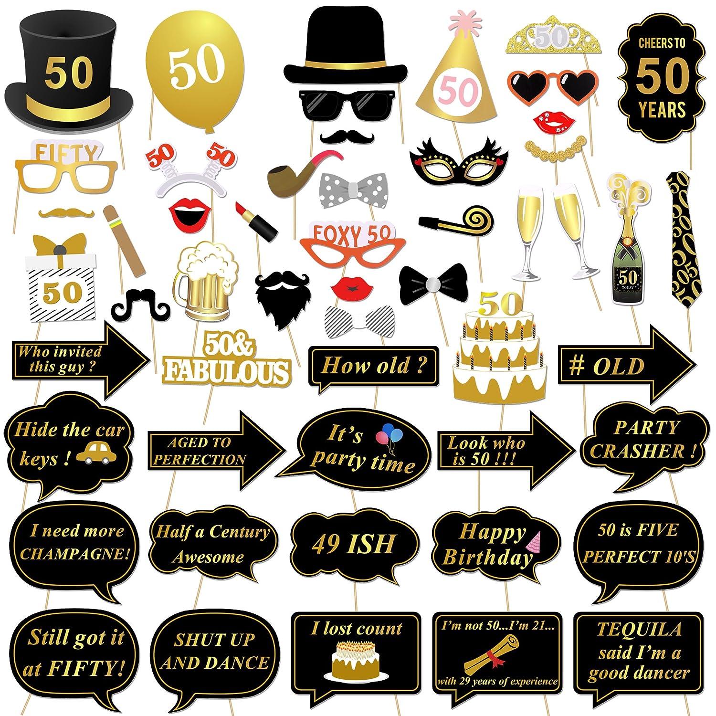 Konsait 50 cumpleaños Accesorios de la Cabina de Foto, 50 cumpleaños Decoracion DIY Photo Booth Props Kits con Palo para Fiesta de cumpleaños a Favor ...