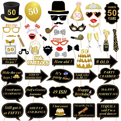 Konsait 50th Birthday Photo Booth Props Decorations Party Black Gold Glasses