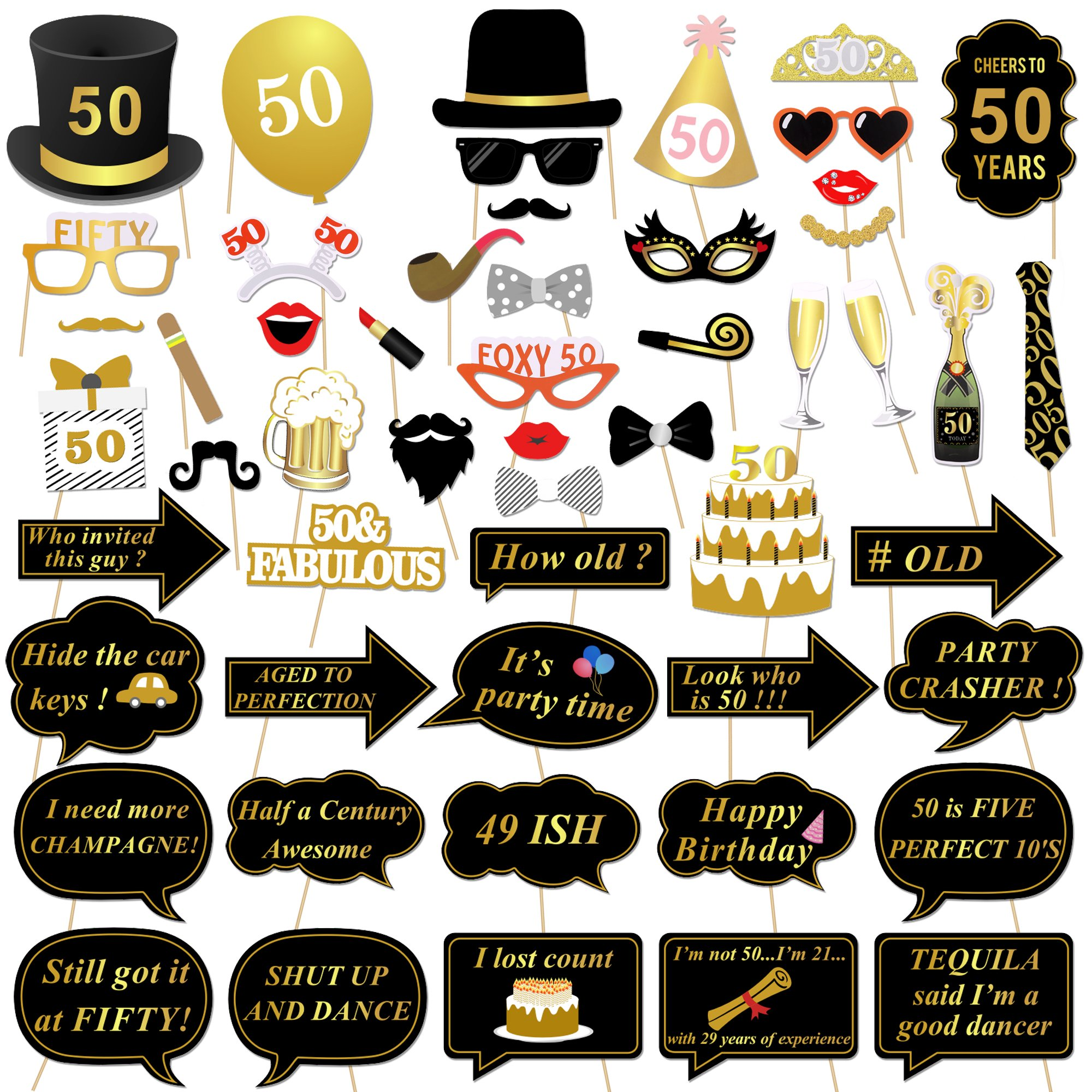 Konsait 50th Birthday Photo Booth Props, 50 Black and Faux Gold Happy Birthday Decorations DIY Photo Booth Prop Kits with Stick for Birthday Party Favor Supplies (53 Counts)