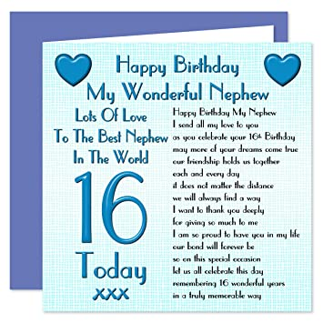Nephew 16th Happy Birthday Card Lots Of Love To The Best Nephew In