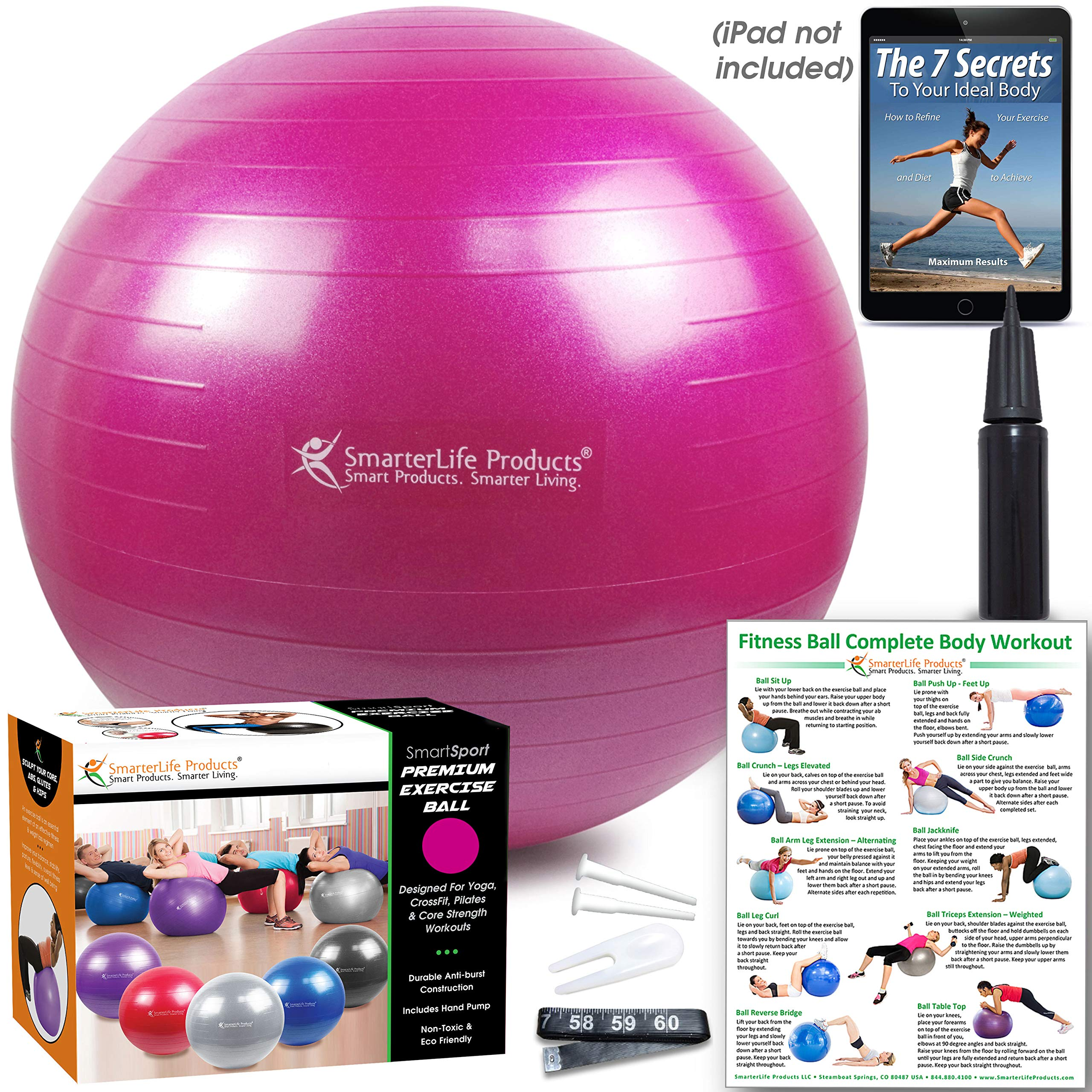 Exercise Ball for Yoga, Balance, Stability from SmarterLife - Fitness, Pilates, Birthing, Therapy, Office Ball Chair, Classroom Flexible Seating - Anti Burst, Non Slip + Workout Guide (Fuchsia, 45 cm) by SmarterLife Products (Image #5)
