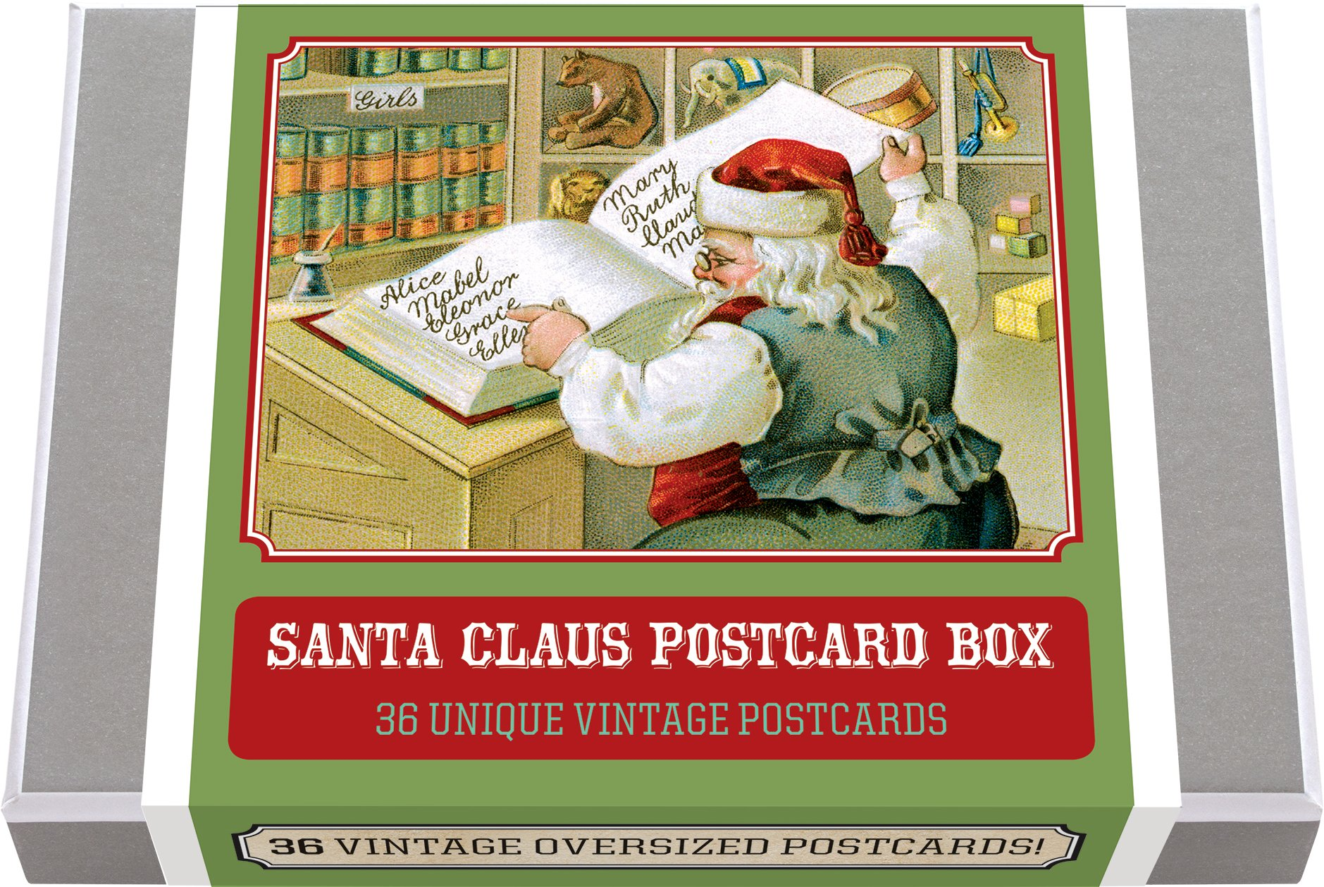 Santa Claus Postcard Box - 36 Unique Vintage Postcards (Postcard Books-Postcard Books)