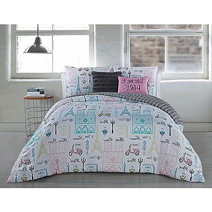 N2 5 Piece Take Me To Paris Themed Comforter King Set, Chic Black White  Multi
