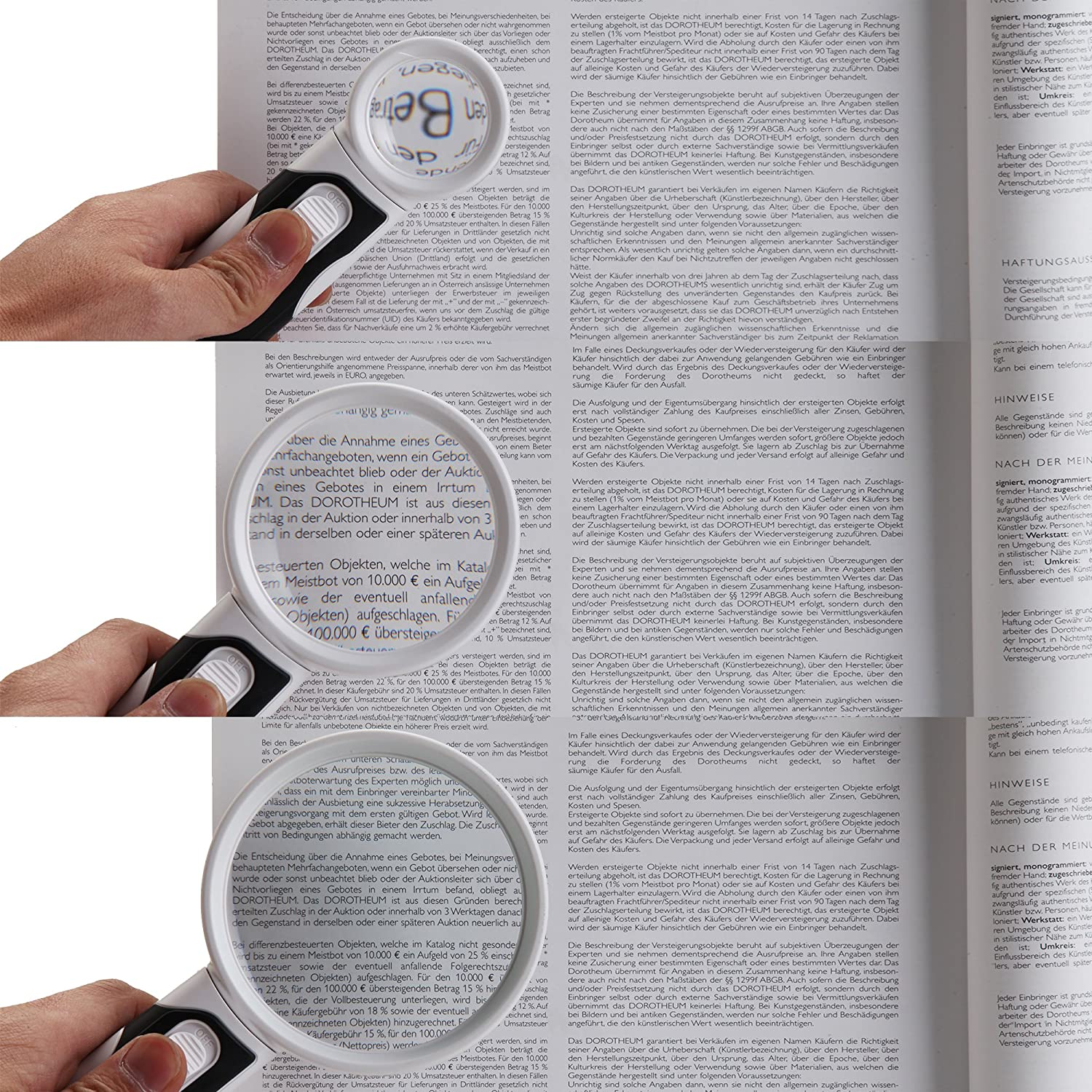 H&S® LED Light Hand held Magnifier Reading Magnifying Glass Handheld ...