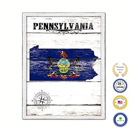 Amazon Com Pennsylvania State Map Flag Country White Wash Wood