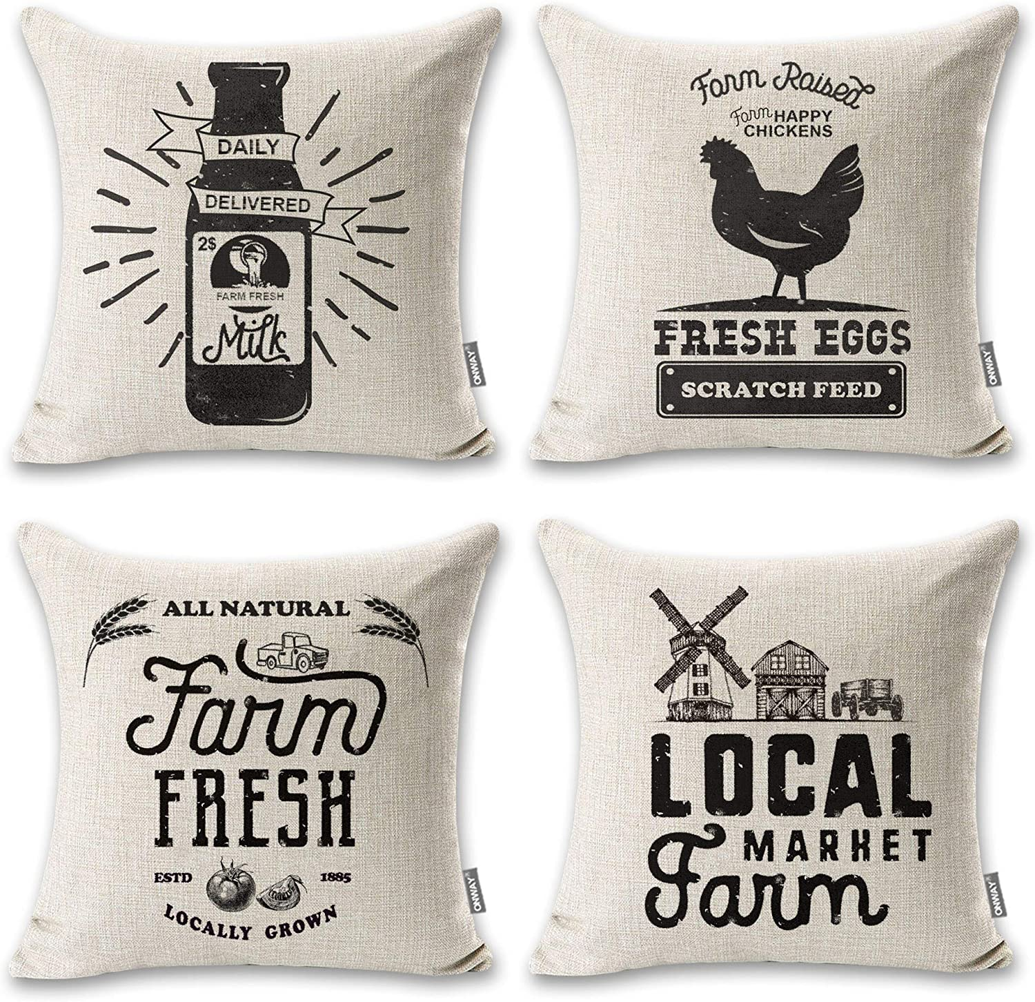 ONWAY 4 Farmhouse Pillow Covers 18x18 Modern Black Farmhouse Decor for Home Sofa and Couch, Set of 4