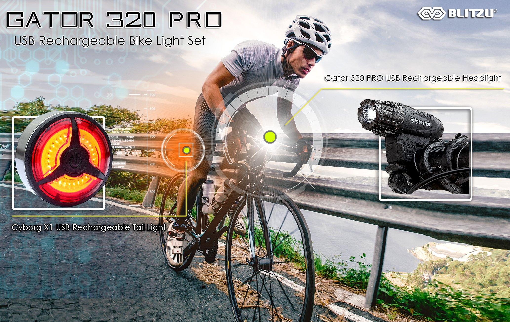 BLITZU Gator 320 PRO USB Rechargeable Bike Light Set Powerful Lumen Bicycle Headlight Free Tail Light, LED Front and Back Rear Lights Easy to Install for Kids Men Women Road Cycling Safety Flashlight by BLITZU (Image #7)