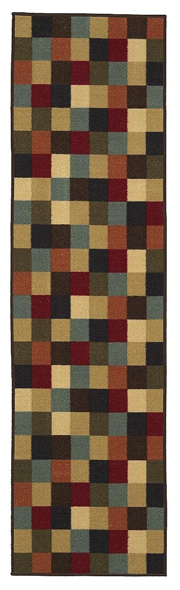 """Ottomanson Ottohome Collection Multi-Color Contemporary Checkered Design Modern Area Rug with Non-Skid (Non-Slip) Rubber Backing, 110"""" W X 70"""" L"""
