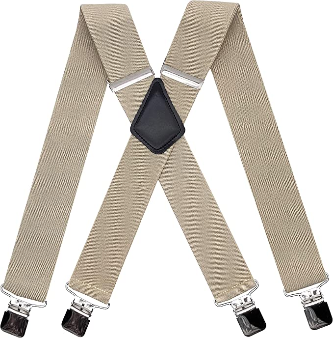 Xeira Mens Braces Suspender with 6 Clips Leather Straps Heavy Duty Adjustable