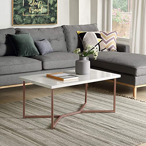 Binrrio Mid Century Modern Coffee Table Industrial Center Tables for Living Room Farmhouse Rectangle Wooden Coffee Table Marble Style Low Table w Stylish X-Leg Base White Rose Gold