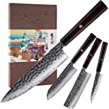 KONOLL 4pcs in one kitchen knife set 3 layer 9CR18MOV clad steel Forged Handmade, w/octagon handle Gyuto Chef Knife