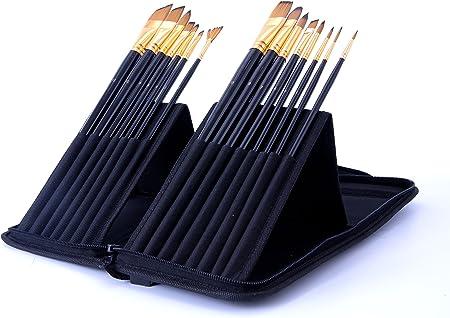 Exerz JH025 Artist Set de Pinceles – 15 Pinceles Profesionales en un Estuche Desplegable/Perfectos Para Usar con Acuarelas/Acrílico/Oleo/Pintura Facial: Amazon.es: Hogar