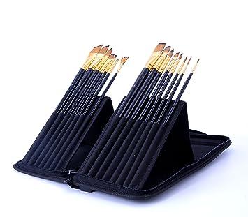 Exerz JH025 Artist Set de Pinceles – 15 Pinceles Profesionales en un Estuche Desplegable/Perfectos Para Usar con Acuarelas/Acrílico/Oleo/Pintura ...
