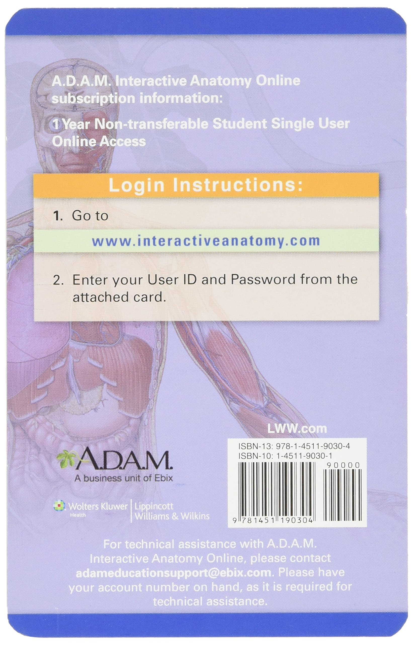 Adam Interactive Anatomy Online Access Card Adam