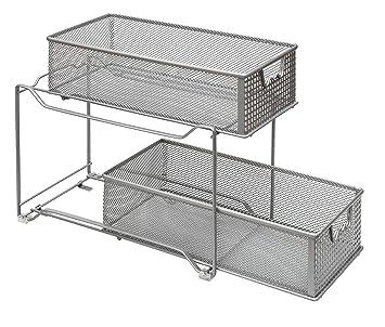Amtido - Organizador de armario de 2 niveles para cocina, armario de baño, cajones extraíbles para debajo del fregadero, color plateado: Amazon.es: Hogar
