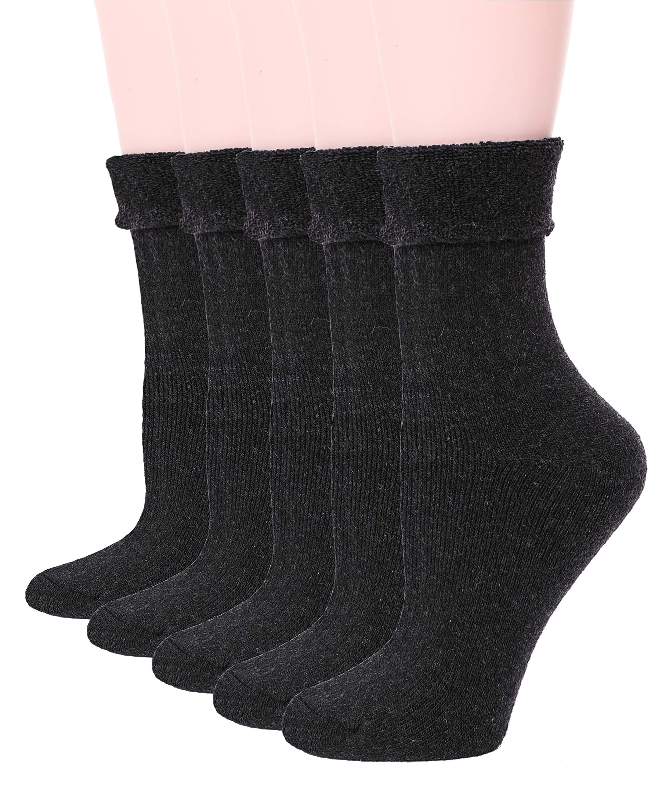 EBMORE Womens Wool Fuzzy Socks Thick Warm Thermal Winter Fleece lined Crew Socks 5 pack (Dark Grey)