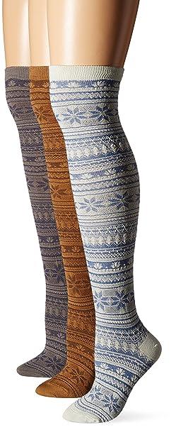 ca3e31c0159 Muk Luks Women s Over The Knee Nordic Pattern Microfiber Socks 3-Pack