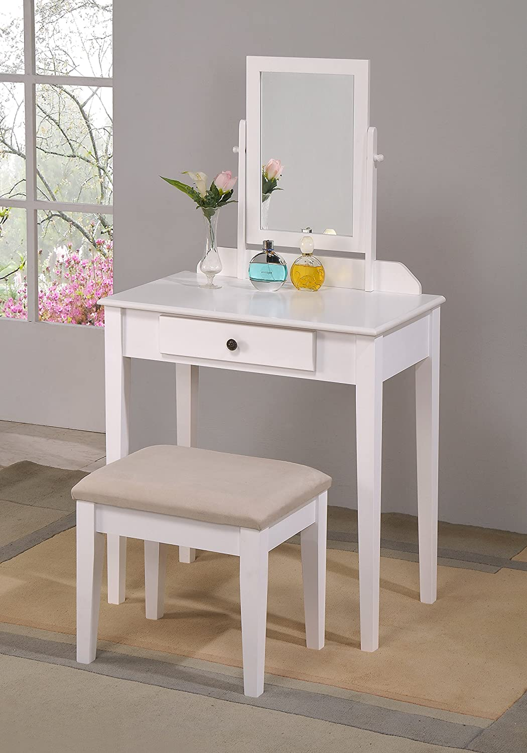 Amazon com  Crown Mark Iris Vanity Table Stool  White Finish with Beige  Seat  Kitchen   Dining. Amazon com  Crown Mark Iris Vanity Table Stool  White Finish with