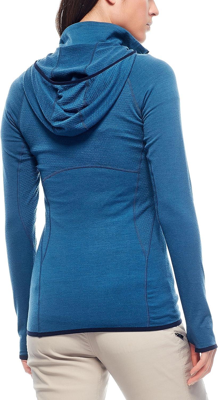 Icebreaker Merino Womens Fluid Zone Half Zip Running /& Hiking Top W//Hood Merino Wool