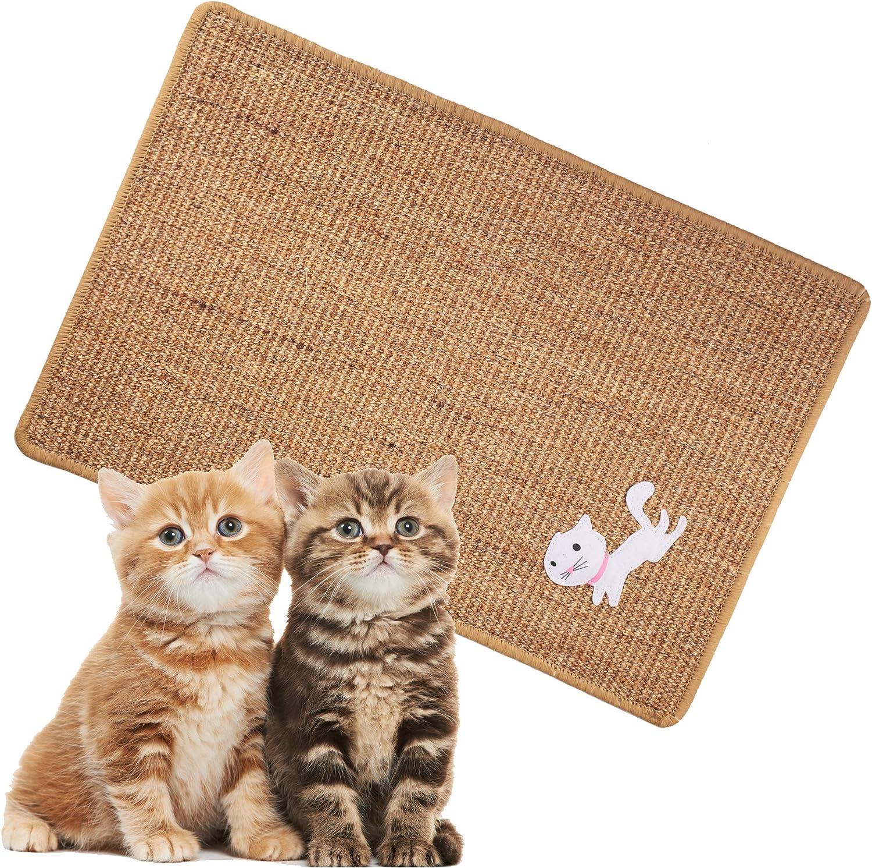 "Cat Scratcher Mat, 23.6""x15.7"" Natural Sisal Cat Scratching Mat, Cat Floor Scratching Rug Carpet Replacement, Anti Slip Cat Scratching Mat for Cat Grinding Claws & Protecting Furniture"