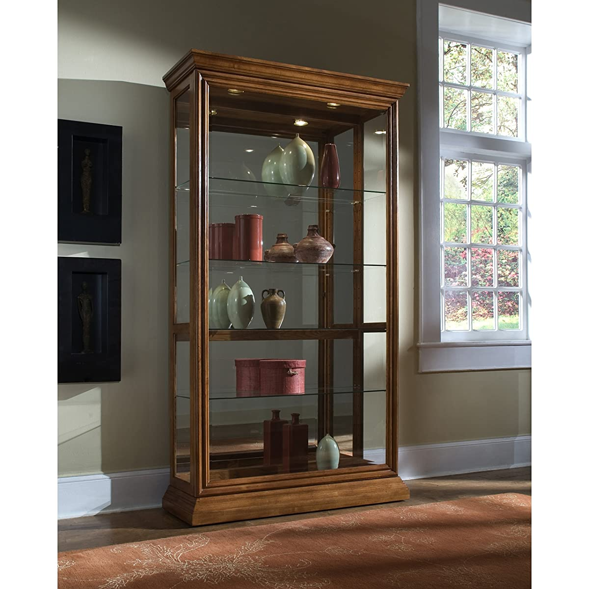 Sofaweb.com Golden Oak Two-Way Sliding Door Curio Cabinet