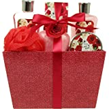 Lovestee Gift,Bath Gift Set - Spa Gift Basket with Love of Rose Fragrance by Lovestee - Bath and Body Gift Set Includes Shower Gel, Bubble Bath, Body Lotion, Bath Salt, Red Bath Puff and Bath Bomb