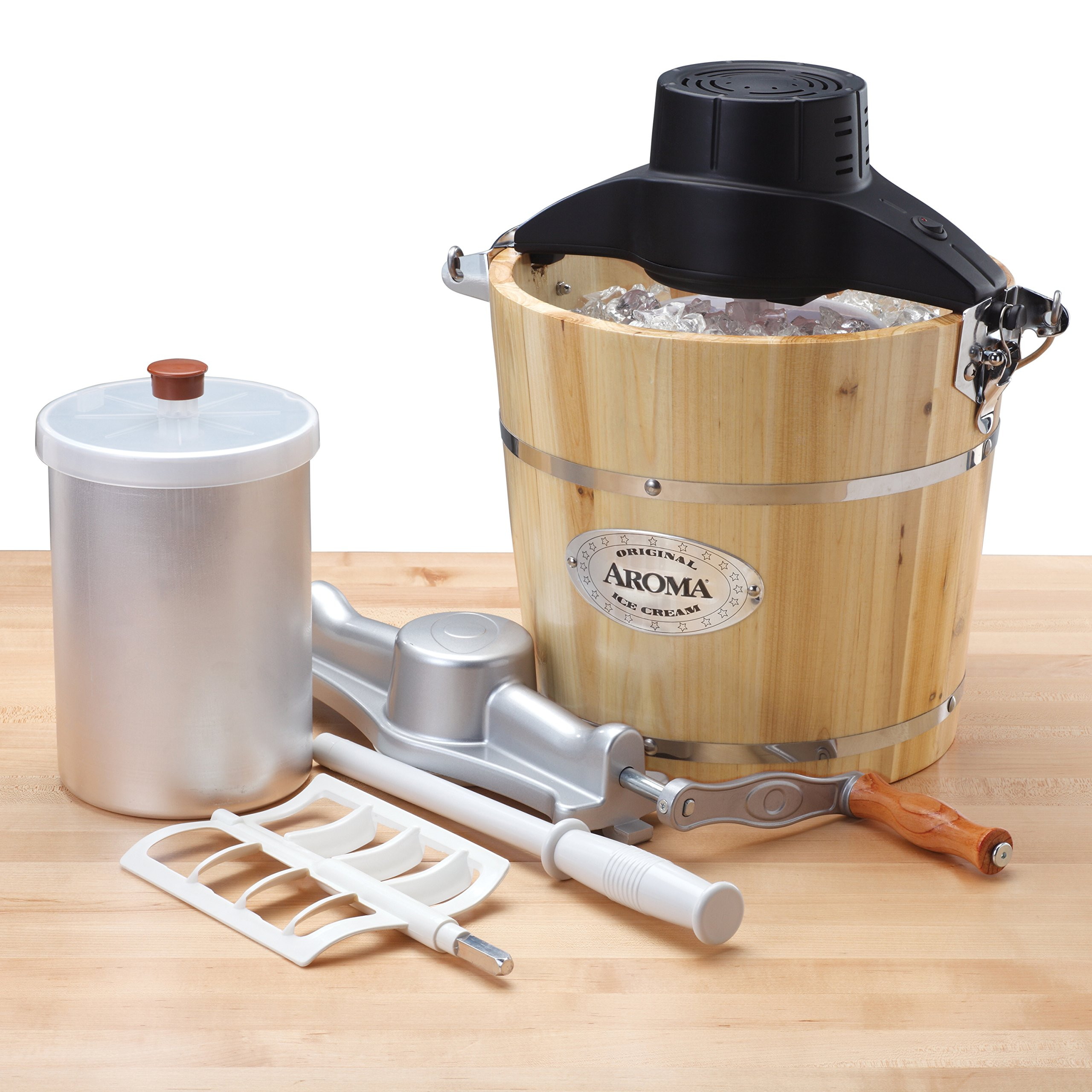 Aroma Housewares 6-Quart Wood-Barrel Ice-Cream Maker, Natural by Aroma Housewares (Image #1)