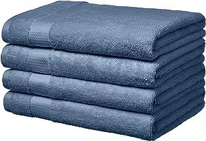 AmazonBasics Everyday Bath Towels, Set of 4, Cornflower Blue, 100% Soft Cotton, Durable