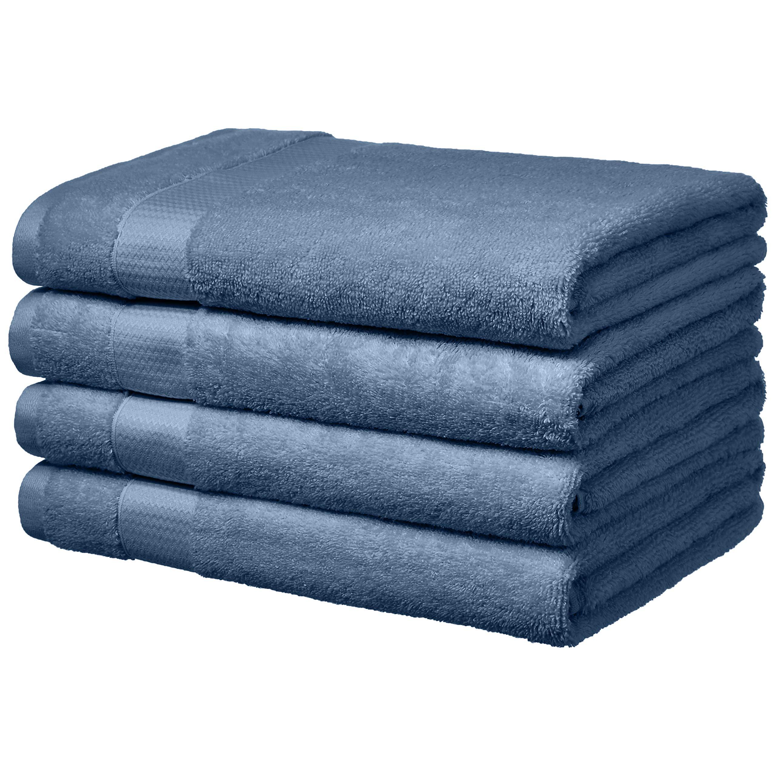 AmazonBasics Everyday Bath Towels - 4-Pack, Cornflower Blue
